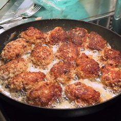 Frikadeller (Danish  or Norwegian pork meatballs). My family does 50/50 beef and pork.