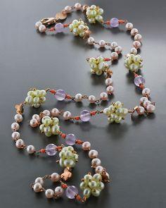 Κολιέ ασημένιο 925 με Αμέθυστο, Κοράλι & Μαργαριτάρια