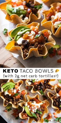 Free & Keto Taco Bowls (with our net carb tortillas!)Gluten Free & Keto Taco Bowls (with our net carb tortillas! Ketogenic Recipes, Low Carb Recipes, Diet Recipes, Healthy Recipes, Keto Foods, Ketogenic Diet, Cake Recipes, Taco Bowls, Street Food