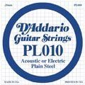 Daddario PL010 Single Plain Steel Acoustic/Electric GuitarString (.010) by Daddario. Save 88 Off!. $0.85. D'Addario Plain Steel strings are made using round steel wire with their patented Lock Twist, ensuring the ball end will not separate from the string. Plain Steel strings can be used on Electric or Acoustic Guitars.