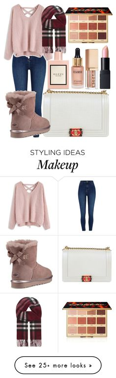 """""""Snowy Winter Date"""" by charlottedinneen on Polyvore featuring Chanel, River Island, UGG, Chicwish, Burberry, Gucci, tarte, Eloise, Stila and NARS Cosmetics"""