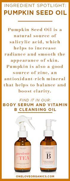 Ingredient Spotlight: Pumpkin Seed Oil is a powerful ingredient in skincare and a natural source of salicylic acid! Diy Pumpkin Seeds, Pumpkin Seed Oil, Essential Oils, Pumpkin Facial, Facial Benefits, Face Serum, Healthy Skin, Eat Healthy