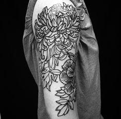 Peony & Chrysanthemum Tattoo done by Emily Effler at Sacred Heart Tattoo in Atlanta
