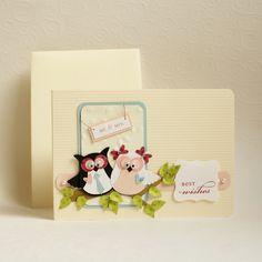 liebevoll gestaltete glückwunschkarte zur hochzeit mit zwei zuckersüßen eulchen!    die detailreich gestaltete karte ist aus stabilem cardstock gefert