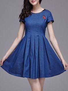 Blue Casual Denim Pleated #Mini #Dress
