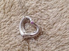 7126489ec Items similar to Excellent Tiffany & Co. Elsa Peretti Open Heart Pink  Sapphire Necklace on Etsy