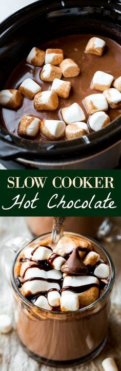 Thick and creamy slow cooker hot chocolate made easy in the crockpot! Recipe on… Thick and creamy slow cooker hot chocolate made easy in the crockpot! Recipe on sallysbakingaddic… Holiday Baking, Christmas Desserts, Christmas Baking, Winter Desserts, Winter Drinks, Christmas Meals, Christmas Christmas, Xmas, Weight Watcher Desserts