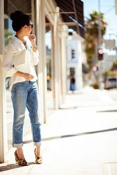 white blouse, boyfriend jeans, leopard heels