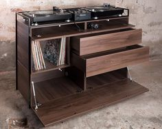 "99 Likes, 1 Comments - Studio Rik ten Velden (@studioriktenvelden) on Instagram: ""Selectors Cabinet walnut edition This DJ furniture piece is constructed with a steel frame and…"""