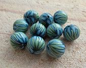 green and turquoise polymer clay petal beads