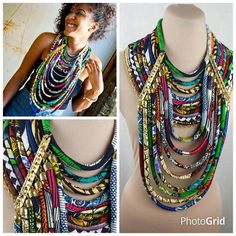 Gold Accented Multistrand Ankara Necklace - African Wax Necklace - African Jewelry  - Multi-layered Necklace - Ankara Conversation Piece