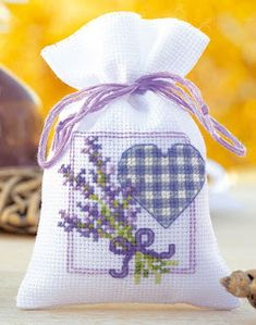 Vervaco® Lavender Twigs with Heart Sachet Counted Cross-Stitch Kit Mini Cross Stitch, Cross Stitch Heart, Counted Cross Stitch Kits, Cross Stitch Flowers, Lavender Crafts, Lavender Bags, Cross Stitching, Cross Stitch Embroidery, Embroidery Patterns