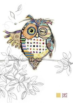 Owen Owl in mixed media work, drawing and fabric collage'Owen Owl' by Jane CrowtherQuality greeting cards designed and published in the UK. Browse our ranges and shop online for decorative everyday designs and Christmas cards. Pintura Graffiti, Motifs Animal, Bug Art, Owl Crafts, Pintura Country, Applique Quilts, Owl Applique, Owl Quilts, Fabric Art