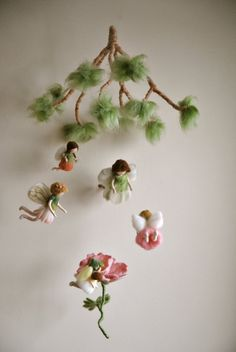 Spring mobile Waldorf inspired needle felted dolls: Flower fairies