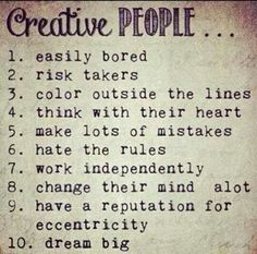 This list describes traits present in creative people. Creative people often create their path in life. Great Quotes, Quotes To Live By, Me Quotes, Inspirational Quotes, Random Quotes, Daily Quotes, The Words, Poems About Life, Creativity Quotes