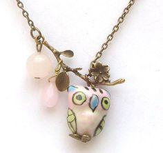 Antiqued Brass Branch Jade Quartz Porcelain Owl Necklace