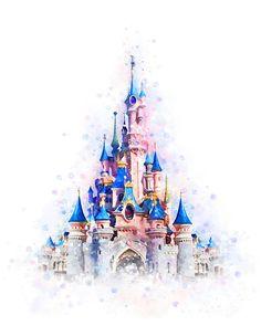 Disney Castle Art Print Disneyworld Castle Printable Disney Castle Poster Disney Princess Watercolor Disney Castle Nursery Wall Decor Gift