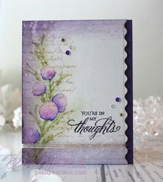 Delicate Florals, Time, Script, Special Thoughts: PB, Kuretake Real Brush Pens Ranger: Lilac & Dusty Concord inks, flower skech, by Penny Ward INK: