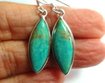 Turquoise Marquis Drop Earrings in Sterling Silver
