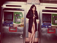 Underground: Daisy Lowe takes to one of New York's subway stations in a Diesel Black Gold coat and lingerie by Carine Gilson
