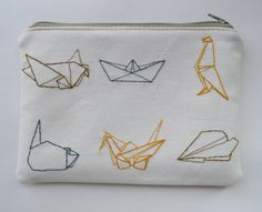 Cotton pencil case with embroidered origami pictures