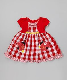 Another great find on #zulily! Youngland Red Gingham Ladybug Ruffle Dress - Infant, Toddler & Girls by Youngland #zulilyfinds. $12.99, 12mos-6X