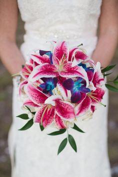 Pink and Blue Wedding flowers! Florida Beach Wedding by Megan Ellis Photography - KnotsVilla