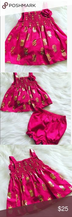 Gold Pineapple Print Baby Girl Dress Finally just arrived in time  for the little girls ,have your baby girl dazzle in this pink & gold pineapple print set!   New with tags!  Price is firm. No Trades. 0726171207 Please use the buy now or add to bundle feature to purchase!  Dresses Casual