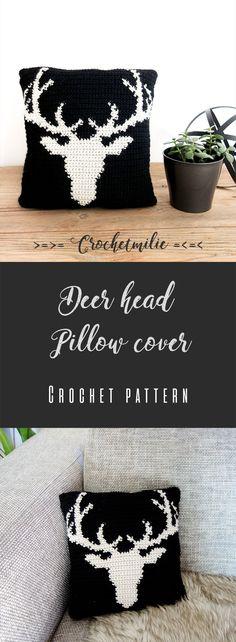Crochet PDF Pattern - Deer head pillow cover - animal decor cushion crocheters rustic wood chalet cottage