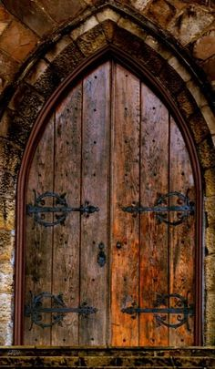 Door, gothic, arch, wood, rustic