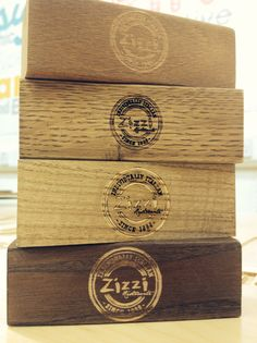 Gondola Group, Zizzi restaurant branded menu holders. Bespoke engraved wooden display products