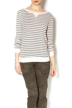 This pink and grey striped thermal is very soft. Great for layering under a vest with your favorite pair of jeans.   Stripe Thermal by Michael Stars. Clothing - Tops - Long Sleeve Clothing - Tops - Casual Florida