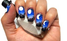 Moon phases nail art design. Inspired by JauntyJuli.