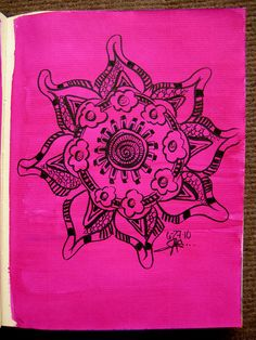 hot pink ink mandala