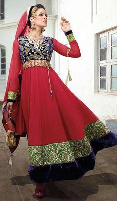 G3 fashions Red Georgette Velvet Wedding Wear Designer Salwar Suit  Product Code : G3-LSA105052 Price : INR RS 6110
