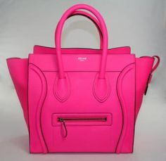 Authentic Celine Neon Pink Mini Luggage Bag