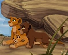 Asha Koda and Leah standing under the rock that Kiara stood on when she was a cub before meeting Kovu Kiara Lion King, Kiara And Kovu, Lion King 3, The Lion King 1994, Lion King Fan Art, Lion Art, Disney Lion King, Anime Lion, Anime Furry