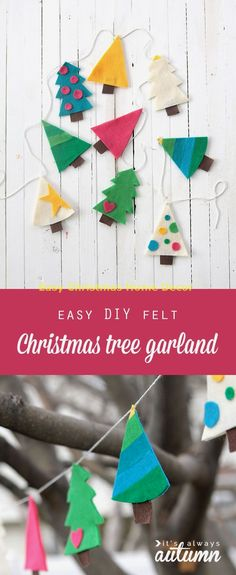 cute Christmas tree garland - Land of Nod knockoff - easy DIY holiday decoration Learn how to make this easy felt Christmas tree garland. It's a simple Christmas tree craft - DIY holiday decor. Diy Christmas Tree Garland, Felt Christmas Decorations, Christmas Tree Crafts, Diy Garland, Noel Christmas, Simple Christmas, Holiday Crafts, Felt Garland, Christmas Parties