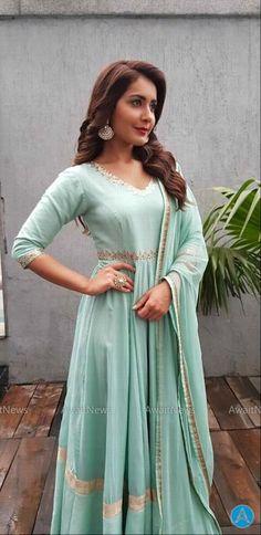 Rashi Khanna Latest Photos In Sea Green Long Anarkali Suit Senior Girl Poses, Girl Photo Poses, Girl Photos, Salwar Dress, Frock Dress, Long Anarkali, Tamil Actress Photos, Indian Celebrities, South Indian Actress