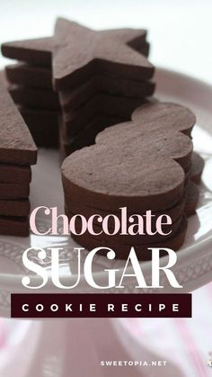 Chocolate Sugar Cookie Recipe {Cut Out Cookies} - Cupcakes Chocolate Chip Cookies Rezept, Chocolate Sugar Cookie Recipe, Chewy Sugar Cookies, Best Sugar Cookies, Sugar Cookies Recipe, Cookies Et Biscuits, Chocolate Recipes, Wilton Sugar Cookie Recipe, Decorated Cookies