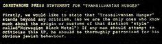 Darkthrone press statement