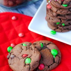 Double Chocolate Mint Cookies for Christmas - Crazy Little Projects Christmas M&ms, Christmas Cookies, Chocolate Mint Cookies, Vegetarian Chocolate, Peppermint, Cocoa, Baking, Tired, Desserts