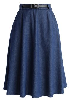 Belted Denim Midi Skirt - New Arrivals - Retro, Indie and Unique Fashion