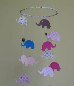 Handmade nursery mobile, baby girl nursery design, elephant mobile, crib mobile, cot mobile, nursery decoration