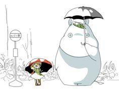 "More Japanese fan art with Moomin as Totoro. (The sign says ""Muumin-dani"" — Moomin Valley.)"