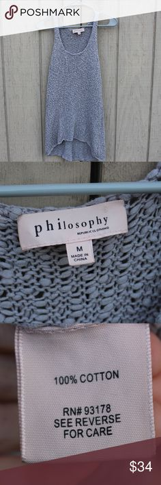 Philosophy Grey Knit Crochet Tunic Tank Top A gray knitted crocheted short sleeved tunic by Philosophy. Fabric: 100% cotton Made in China Condition: Like new! Size: Woman's medium Philosophy Tops Tunics