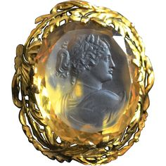 Unbelievable Citrine Carved Cameo in 15K gold  setting Circa 1960-80's