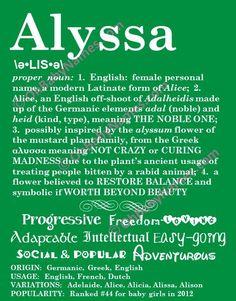 ALYSSA Personalized Name Print / Typography Print / by OhBabyNames, $20.00