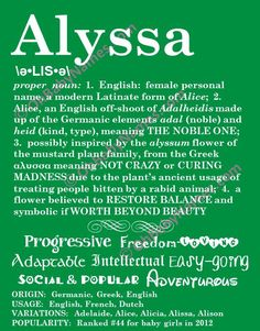 ALYSSA Personalized Name Print / Typography Print / Detailed Name Definitions…