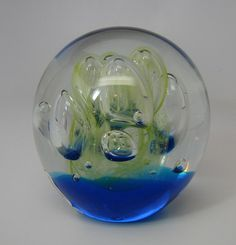 "New Art Glass Paperweight  3"" Great Sized Lime Explosion Glow in Dark"